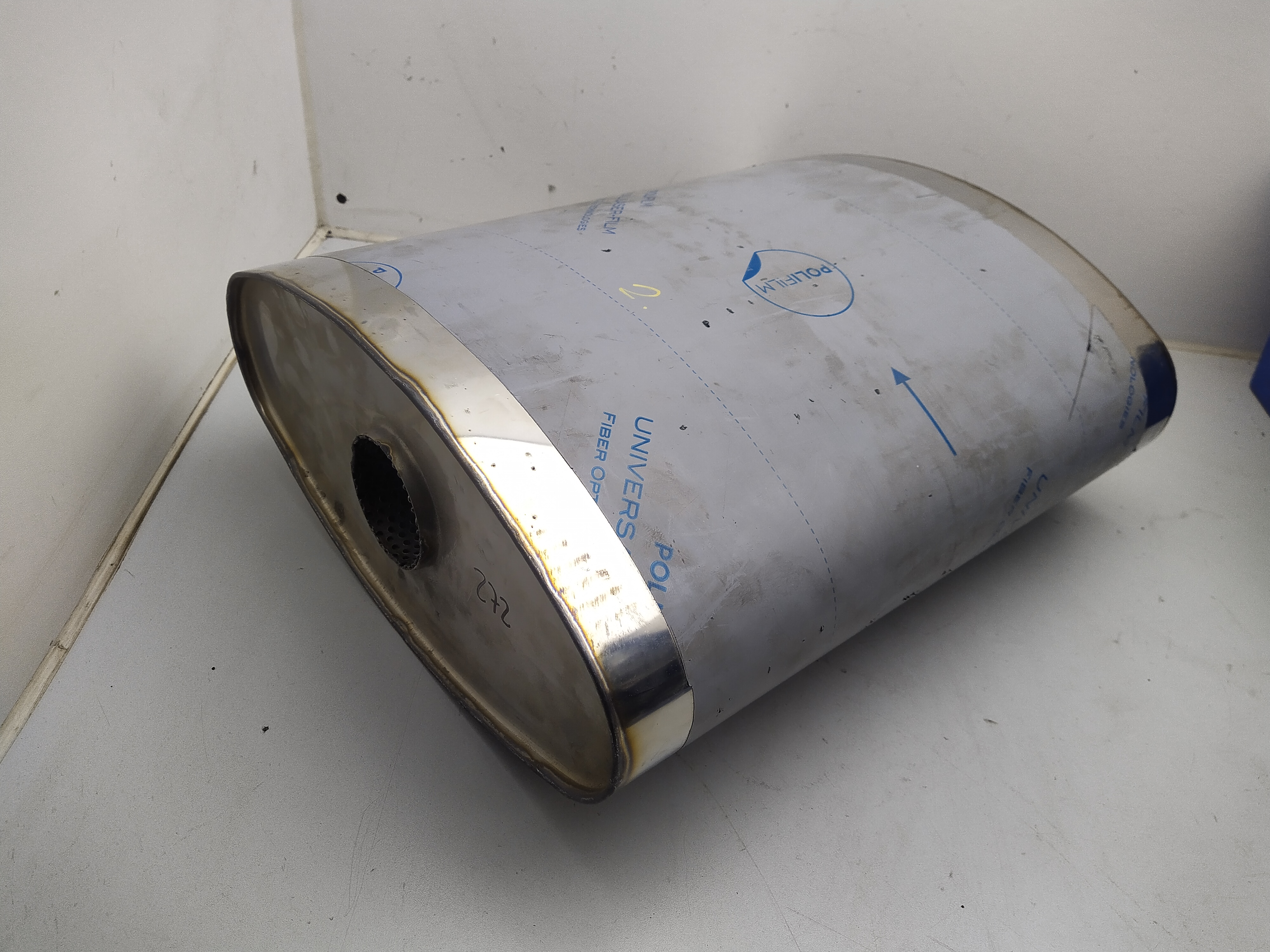 "2,5"" 2.5 zoll Schalldämpfer oval ohne Stutzen - 56x160mm, d1Ø 63,5mm, Länge: 420mm"